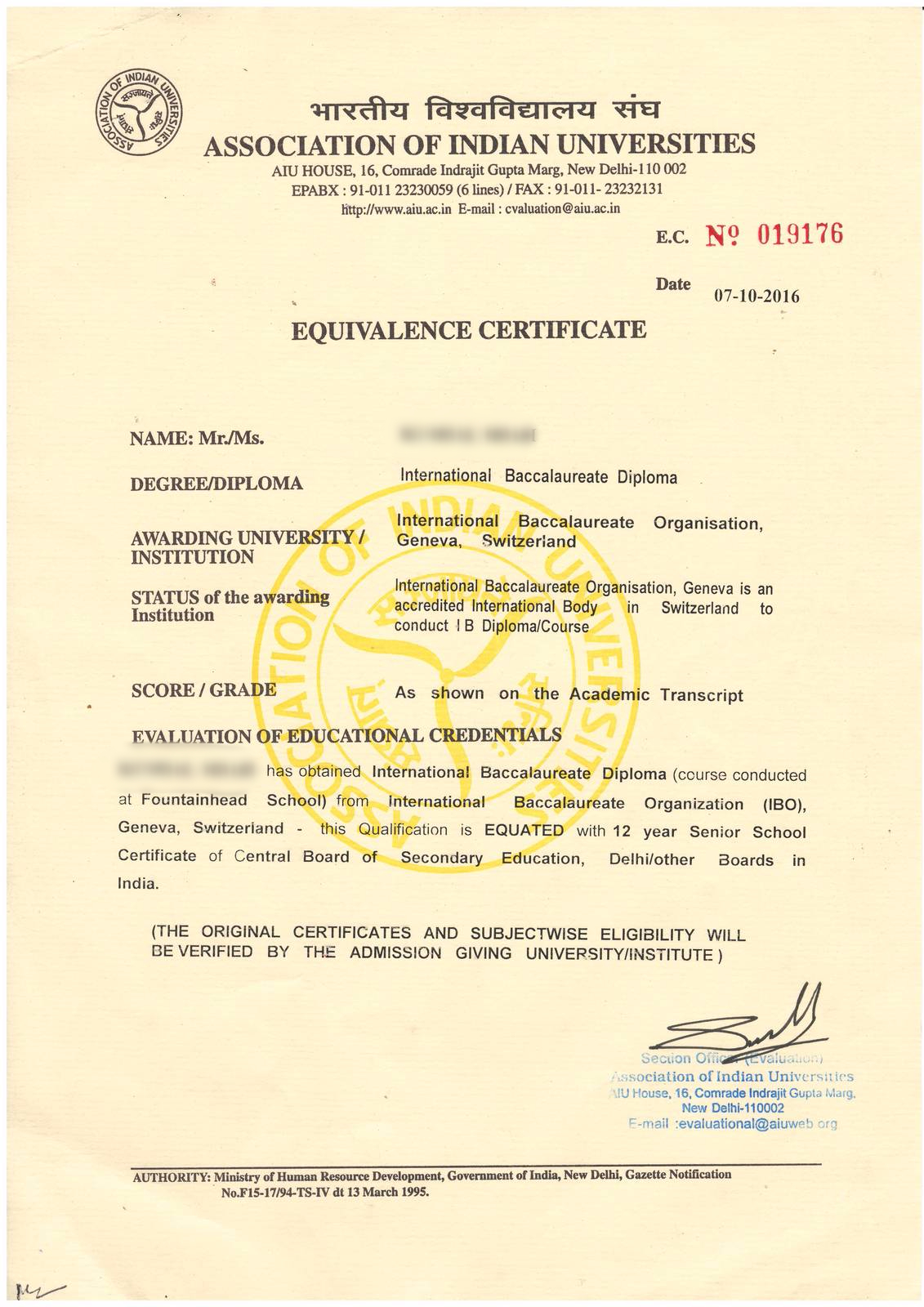 Documents for admission in other schools fountainhead school aiu equivalence certificate xflitez Gallery
